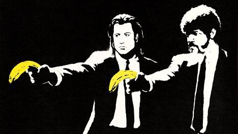 Banksyn Pulp Fiction -työ koristi seinää graffitimaalauksena viiden vuoden ajan.