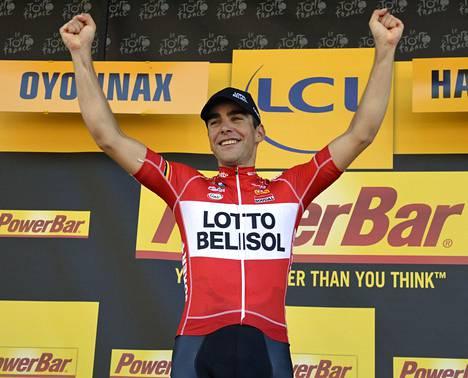 Tony Gallopin juhli Ranskan ympäriajon 11. etapin voittoa.