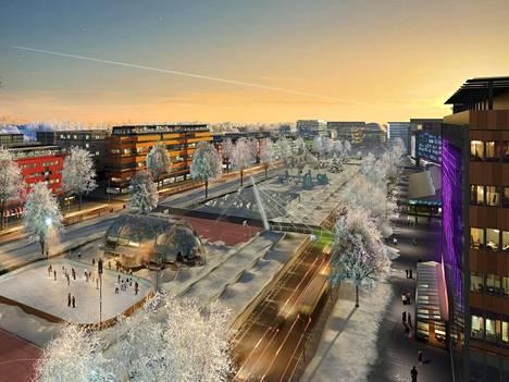 Hahmotelma Hämeenlinnanväylästä vuonna 2050, kun se on muutettu kaupunkibulevardiksi.