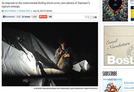 Boston Daily julkaisi verkkosivuillaan Sean Murphyn kuvia Džohar Tsarnajevin pidätyksestä.