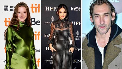 Uuden Taru sormusten herrasta -sarjan näyttelijät Morfydd Clark, Nazanin Boniadi ja Joseph Mawle.