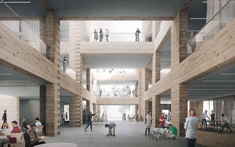 Havainnekuvanäkymä Tuusulan tulevan lukion eli Monion sisätiloihin. Se on kolmikerroksinen hirsirakennus.