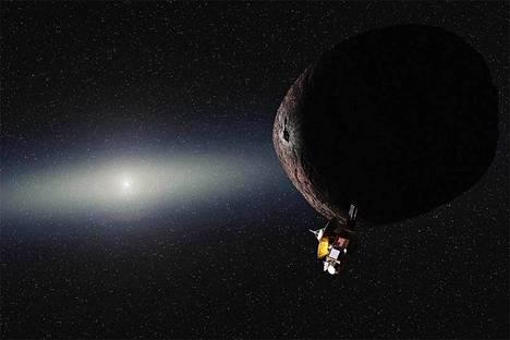 Ultima Thule on etäisin avaruuden kohde, jonka ohi ihmisen valmistama laite lentää läheltä. Taiteilijan näkemys.