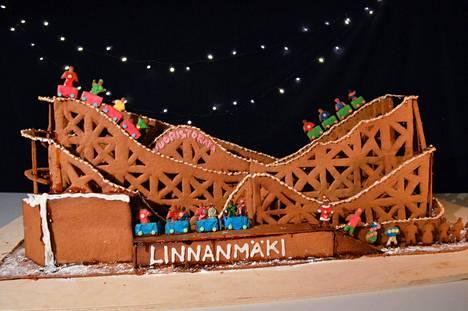 Minna Rönkä, Maija Rönkä, Anne Jarva ja Kevan Murtagh tekivät Linnanmäen vuoristoradan piparista.