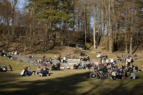 People gathered in Helsinki's Alpine Park on Saturday to enjoy the warm weather.