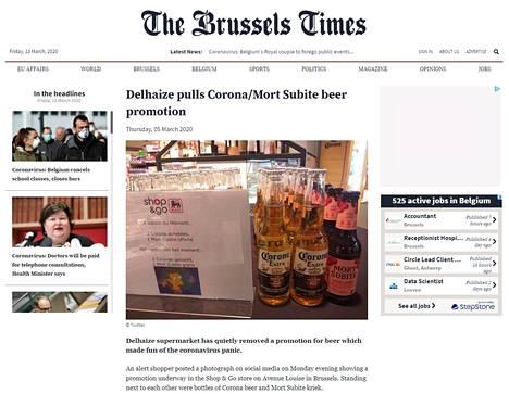 Suuri belgialainen markettiketju Delhaize joutui vetämään pois oluttarjouksen, jossa vitsailtiin koronavirusepidemialla. Asiasta kertoi The Brussels Times -lehti.