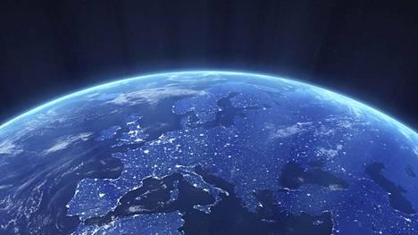 Tartuntatilanne vaihtelee eri maissa. Satelliittinäkymäkuvaa öiseen Eurooppaan on muokattu tietokoneella.