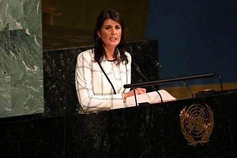Yhdysvaltain YK-suurlähettiläs Nikki Haley