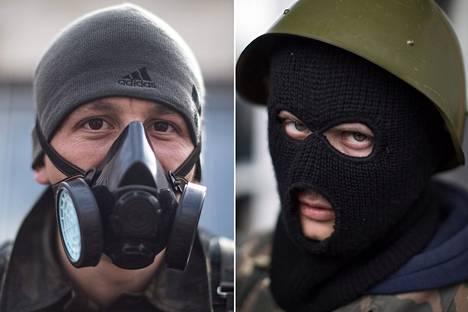 """Aleksei (vas.), kotikaupunki Horlivka, Donetskin alue: """"Olen täällä tulevaisuuden puolesta, jotta lapset ja lapsenlapset voisivat elää hyvää elämää. Ja Venäjän puolesta. Jos hyökkäys tulee, me puolustaudumme. Ei tätä rakennusta ainakaan ilman verenvuodatusta valloiteta."""" Nikita (oik.), kotikaupunki Druzkovka, Donetskin alue: """"Puolustan omia oikeuksiani ja sitä, että lapset ja vanhukset uskaltavat kävellä kadulla rauhassa. Vaadin kansanäänestystä ja Donetskin alueen liittämistä Venäjään. Se on täysin realistinen vaatimus, sillä täällä kaikki on mahdollista. On samantekevää, kuinka Ukrainan joukot hyökkäävät, me pysymme täällä."""""""