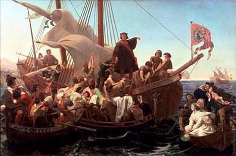 Emanuel Leutzen maalaus vuodelta 1855 esittää Kristoffer Kolumbusta Santa Marian kannella vuonna 1492.