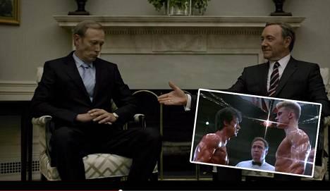 Yhdysvaltain presidentti Frank Underwood (Kevin Spacey) ja Putinin oloinen Venäjän presidentti Viktor Petrov (Lars Mickelsen eivät tule toimeen House of Cardissa. 1980-luvun taistelupari olivat Rocky Balboa (Sylvester Stallone) ja Ivan Drago (Dolph Lundgren).