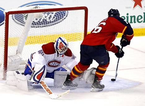 Näin Aleksander Barkov harhautti Montrealin maalivahdin Ben Scrivensin ja teki Floridan 3-1-maalin.