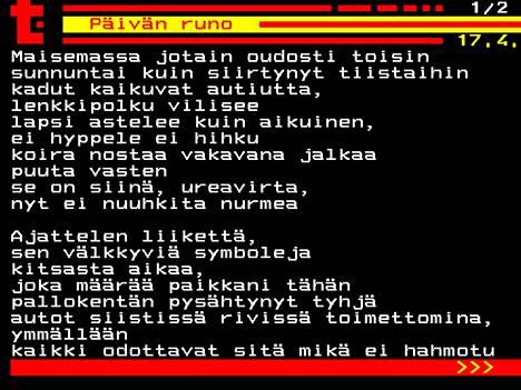 Varpu Rauhalan kirjoittama runo on ensimmäinen julkaistu päivän runo Helsinki Poetry Collection -yhteisön ja Teksti-tv:n yhteisessä projektissa.