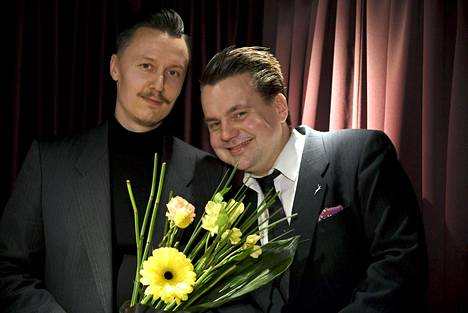 Lehtojärven Hirvenpää -levyn säveltäjä Harri Kuusijärvi (vas) ja sanoittaja Jaakko Laitinen.