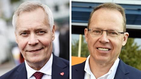 Pääministeri Antti Rinne (vas.) ja Postin toimitusjohtaja Heikki Malinen.