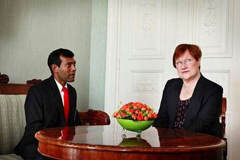 Malediivien presidentti Mohamed Nasheed oli presidentti Tarja Halosen vieraana vuonna 2010.