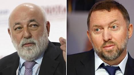 Oligarkeista pakotelistalle on nimetty muun muassa Renova Groupin johtaja Viktor Vekselberg (vas.) ja Putinin liittolainen Oleg Deripaska.