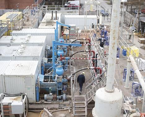 Geoterminen laitos Otaniemessä, jossa St1 tekee koeporauksia. Tarkoituksena olisi käyttää maalämpöä tulevaisuudessa Espoossa.