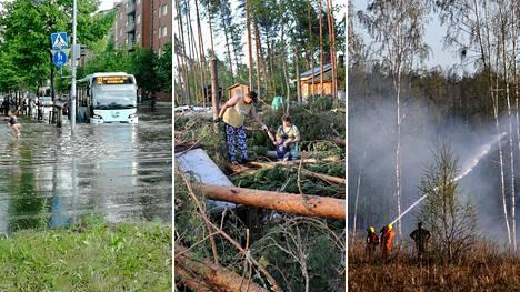 Ilmastonmuutos saattaa lisätä esimerkiksi rankkasateita, myrskutuulia ja metsäpaloja.