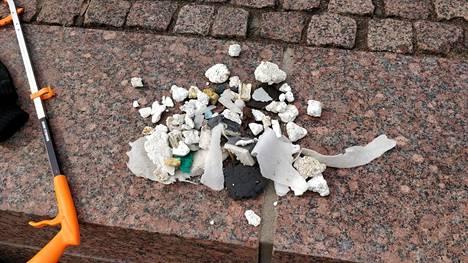 Osa Heli Rädyn löytämästä roskasta oli jo hioutunut pieneksi moskaksi. Eläimet saattavat vahingossa syödä pientä roskaa.