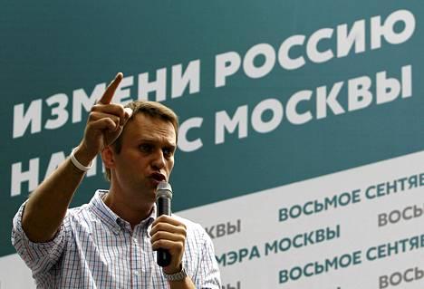 Aleksei Navalnyi puhui kannattajilleen Moskovassa heinäkuun lopulla.