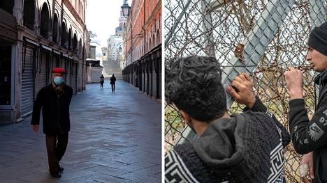 Kuvassa vasemmalla koronaepidemian tyhjentämä katu Venetsiassa Italiassa, oikealla siirtolaisia pyrkimässä Turkista Kreikan puolelle.