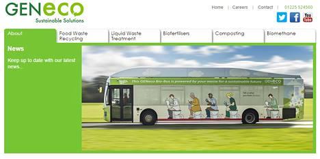 Kuvakaappaus uudesta biometaania polttoaineena käyttävästä bussista energiayhtiö GENecon sivuilta.