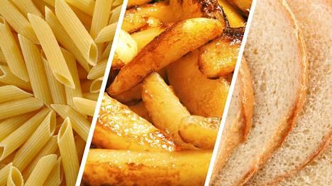 Hiilihydraattien lähteissä on eroja. Asiantuntija neuvoo suosimaan täysjyväpastaa ja kauraleipää ja välttelemään limuja ja leivonnaisia.