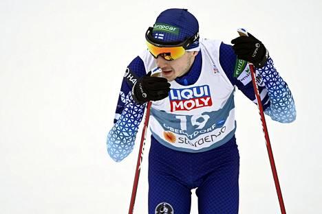 Ilkka Herola Oberstdorfin MM-kisoissa maaliskuun alussa.