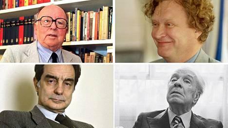 Kirjailijat Augusto Monterroso (ylh. vas.), Jarkko Laine (ylh. oik.), Italo Calvino (alh. vas.) sekä Jorge Luis Borges.