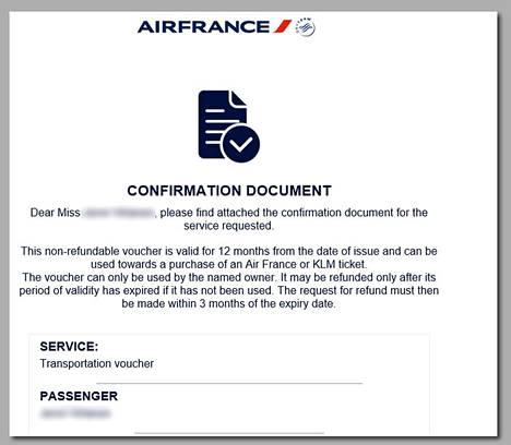 AirFrance-KLM tarjoaa hyvitykseksi ainoastaan hyvitysseteliä, jolla voi ostaa yhtiön lippuja myöhemmin.