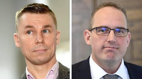Helsingin yliopiston dosentti Oula Silvennoinen (vas.) ja perussuomalaisten eduskuntaryhmän varapuheenjohtaja Jani Mäkelä.