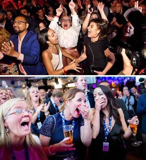 Puolueiden kannattajat näkivät juhlan aihetta sekä sosiaalidemokraattien (yllä) että ruotsidemokraattien (alla) vaalivalvojaisissa sunnuntai-iltana.