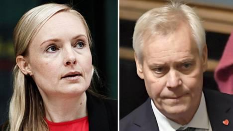 Sisäministeri Maria Ohisalo (vihr) ja pääministeri Antti Rinne (sd)