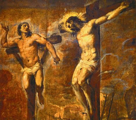Tizianin öljymaalaus Ristiinnaulittu Kristus ja hyvä varas (1560–1570). – Kuva kirjasta Titian, toimittanut Giovanni Carlo Federico Villa.