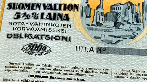 Kuvassa Suomen valtion oblikatsioni vuodelta 1920 sota-vahinkojen korvaamiseksi.