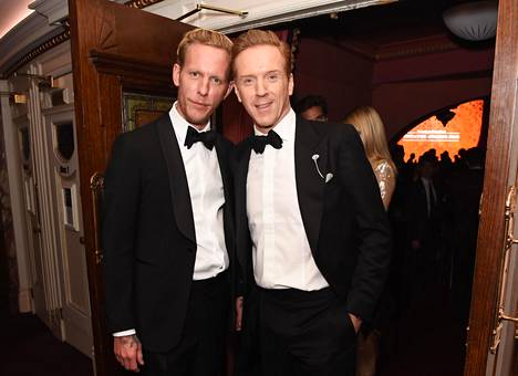 Laurence Fox (left) and actor-producer Damian Lewis at the Evening Standard theater awards gala in London in November 2019.
