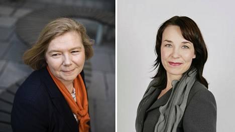 """Rehtori Mari Walls ja Tampereen yliopistosta """"yhteisymmärryksessä"""" eronnut brändijohtaja Camilla Lindfors."""