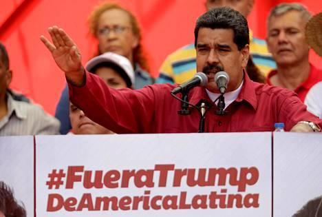 Venezuelan presidentti Nicolas Maduro piti maanantaina puheen Yhdysvaltain presidenttiä Donald Trumpia vastaan maan pääkaupungissa Caracasissa.