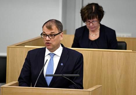 Pääministeri Sipilä puhui maanantaina eduskunnassa.