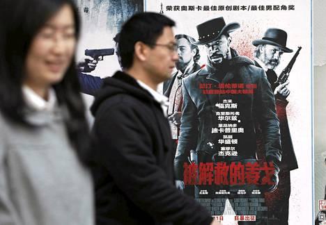 Djangon mainosjuliste oli elokuvateatterin seinässä Pekingissä torstaina.