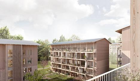 Metsä puilta -ehdotus voitti arkkitehtuurikutsukilpailun.
