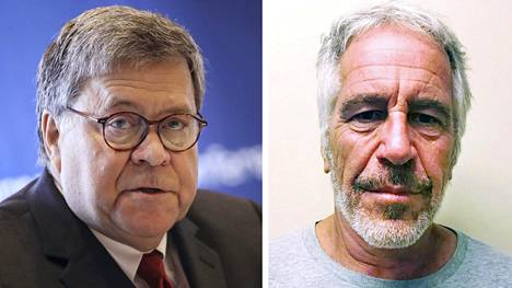 Oikeusministeri William Barr (vas.) ja vankilassa kuollut Jeffrey Epstein.