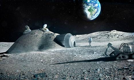 Euroopan avaruusjärjestön (ESA) taiteilijan näkemys kuukylän asutuksesta.