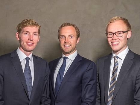 DevCo Partnersin perustajapartnerit: Lauri Stadigh (vas.), Otto Kukkonen ja Teemu Alahuhta