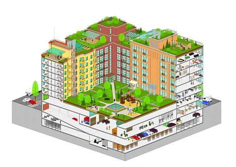 Tallinnan arkkitehtuuribiennaalissa esiteltävä korttelimalli selittää Urban Helsingin ajatusta urbaanista kaupunkirakenteesta. Korttelirakenteessa pitäisi ryhmän mukaan sekoittaa toimistoja, asumista, liike-elämää ja teollisuutta. Nykyinen eri toimintoja erotteleva malli tuottaa tylsää ja huonosti toimivaa kaupunkia.