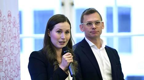 Sdp:n ensimmäinen varapuheenjohtaja Sanna Marin ja puoluesihteeri Antton Rönnholm puolueen eurovaaliehdokkaiden julkistamistilaisuudessa 17. tammikuuta.