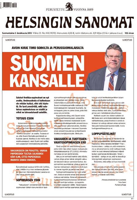 Perussuomalaisten ilmoitus täytti sunnuntain HS:n etusivun.