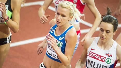 Sanra Eriksson EM-hallikisoissa Prahassa maaliskuussa 2015.