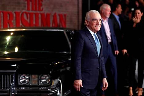 Elokuvaohjaaja Martin Scorsese saapumassa The Irishmanin ensi-iltaan Los Angelesissa lokakuussa.